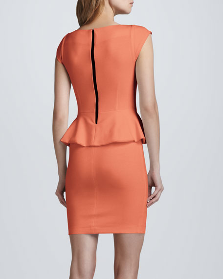 Victoria Peplum Dress, Papaya
