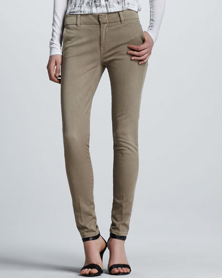 Creased Slim Chino Pants, Quinoa