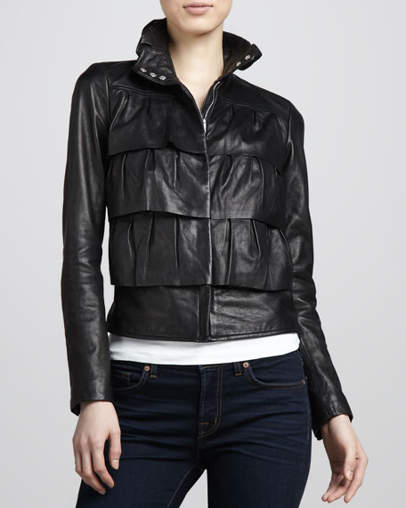 Cupcake Tiered Leather Bomber Jacket