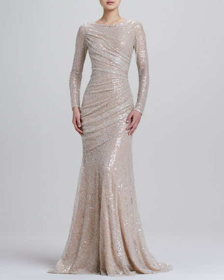 Long-Sleeve Sequined Mermaid Gown