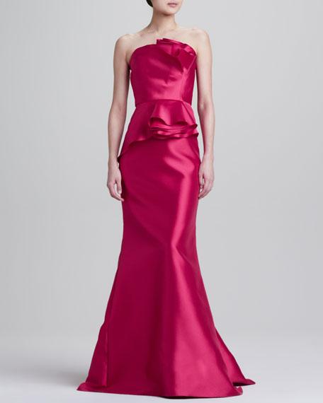 Strapless Satin Peplum Gown, Lipstick
