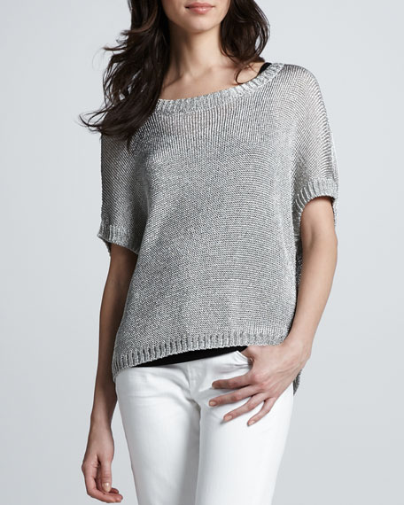Metallic Short-Sleeve Sweater