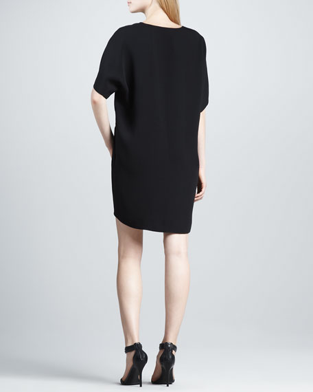 Split-Neck Silk Dress