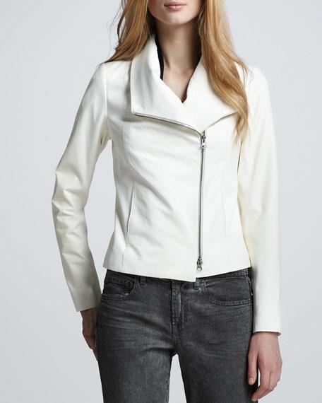 Leather Shawl-Collar Jacket, White