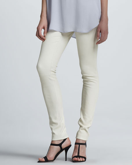 Stretch Leather Skinny Pants, Off White