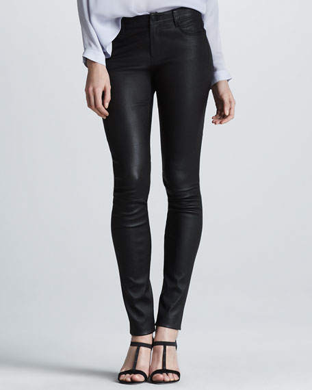 Stretch Leather Skinny Pants, Black