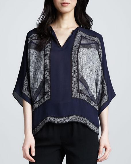 Scarf-Print Silk Top