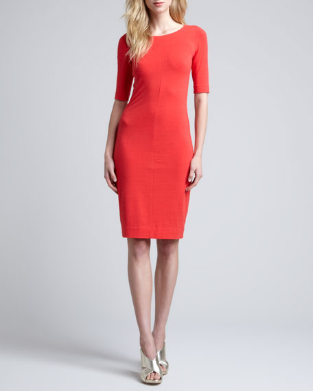 Messon Half-Sleeve Dress, Red