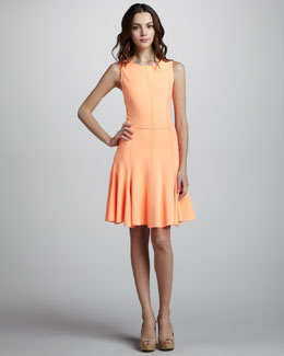 Halston Heritage Ponte Knit Dress with Flared Skirt