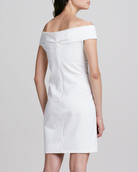 Off-the-Shoulder Lace-Up Ponte Dress