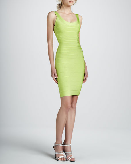 Basic Bandage Dress, Bright Lime