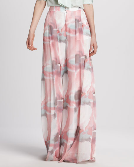 Extra-Long Wide-Leg Floral Pants