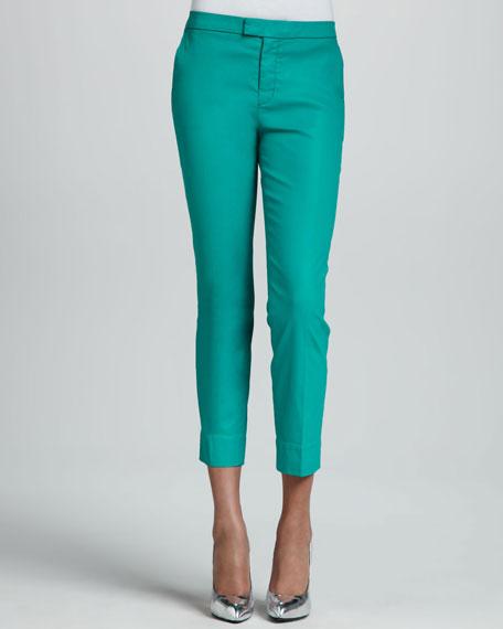 Slim Chino Pants, Coated Tropical Green