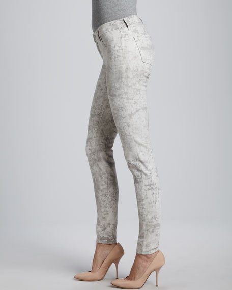 801 Mid-Rise Skinny Jeans, Coated Noise