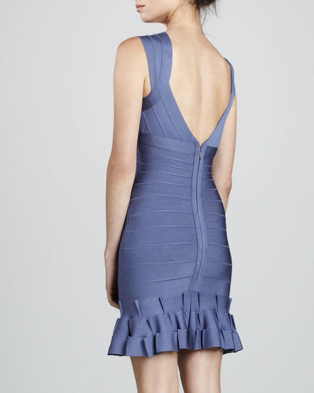 Ruffle-Hem Bandage Dress
