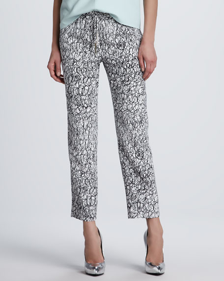Benett Scribble-Print Silk Pants