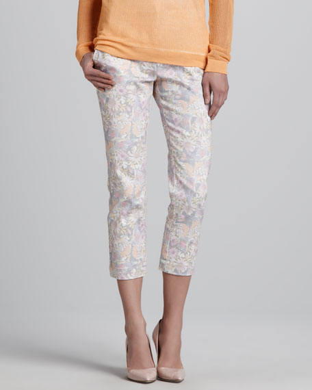 Slouchy Floral-Print Cropped Pants