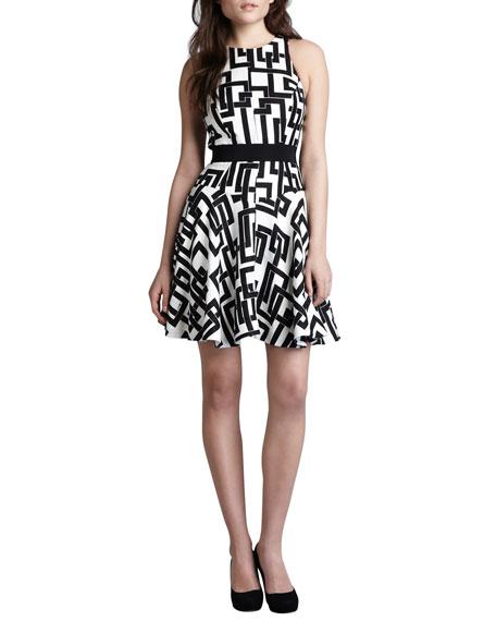Geometric-Print Circle Dress