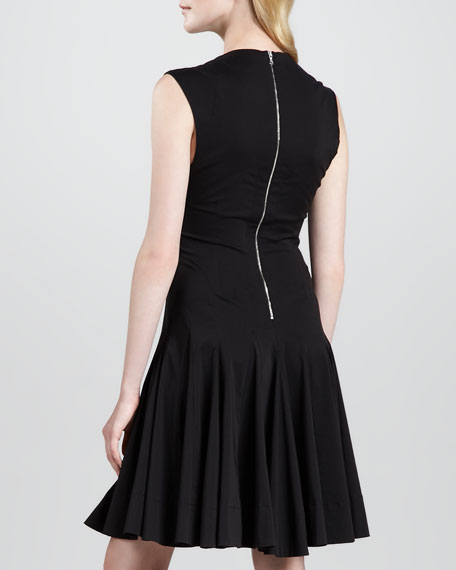 Sleeveless Godet-Skirt Dress