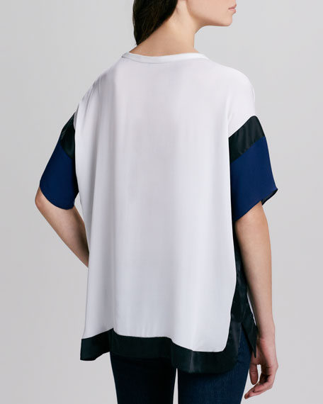 Boxy Half-Sleeve Colorblock Top