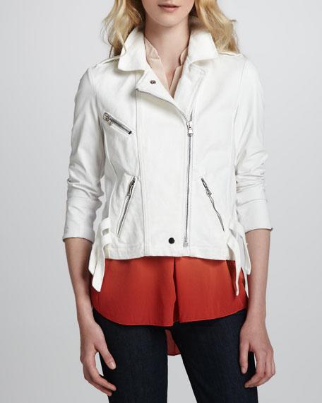 Asymmetric-Zip Cotton Moto Jacket