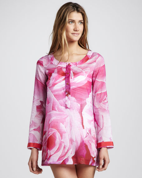 Floral-Print Tunic Coverup