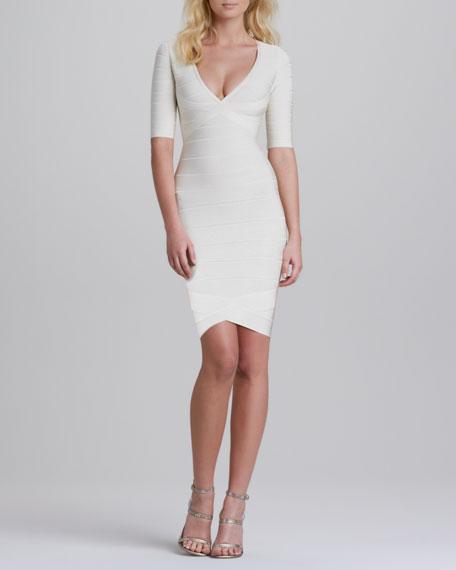 V-Neck Half-Sleeve Bandage Dress