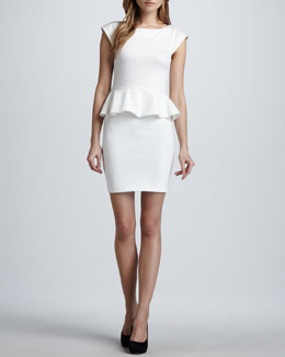 Alice + Olivia Victoria Ponte Peplum Dress, Cream