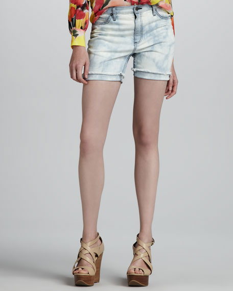Bleach-Out Denim Shorts