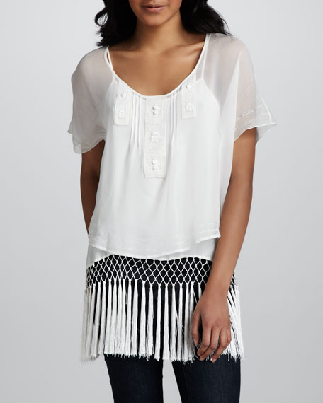 Embroidered Fringe-Hem Chiffon Top