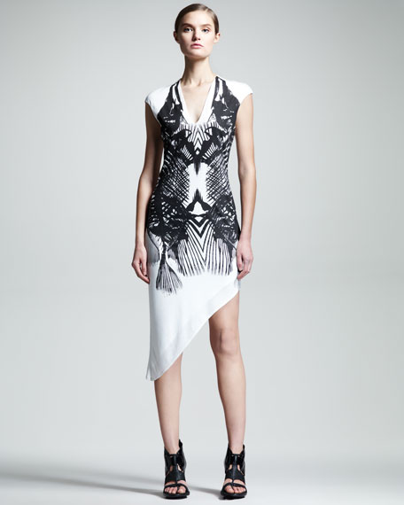 Fish-Print Asymmetric Dress