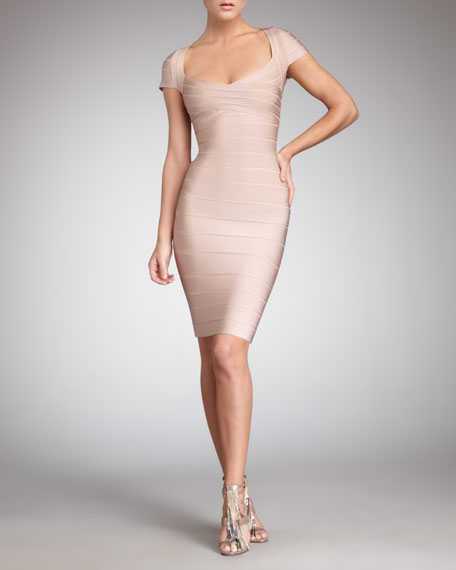 Cap-Sleeve Bandage Dress, Bare