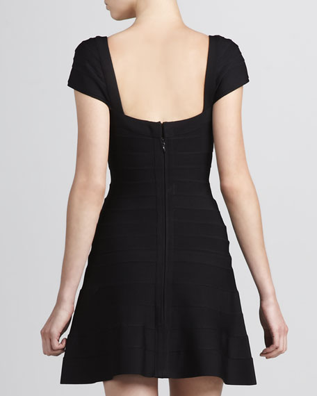 Cap-Sleeve A-Line Bandage Dress, Black