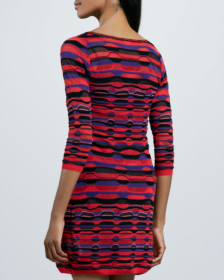 Ladder-Stripe Long-Sleeve Dress