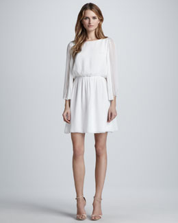 Alice + Olivia Florence Pleat-Sleeve Dress