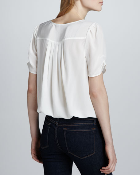 Amone Silk V-Neck Top, Porcelain