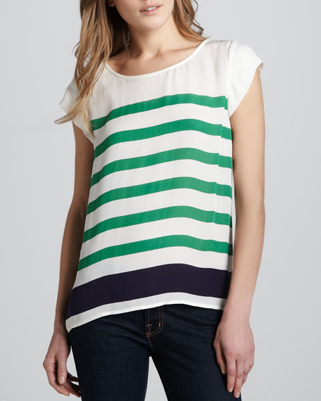 Terry Striped Silk Top