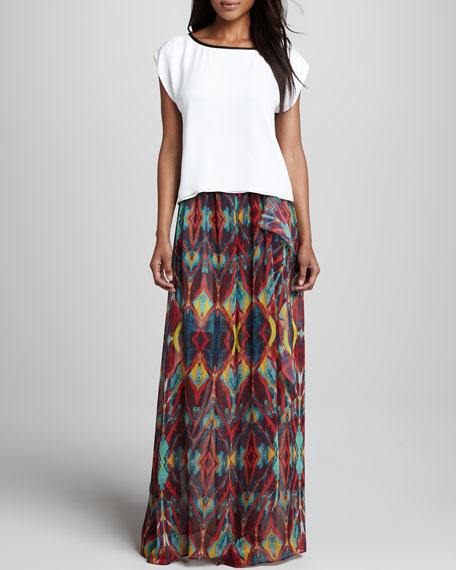 Miabella Printed Chiffon Maxi Skirt