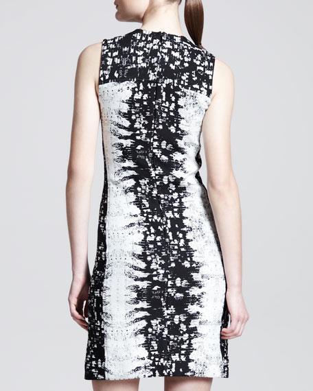 Paneled Abstract-Print Sheath Dress