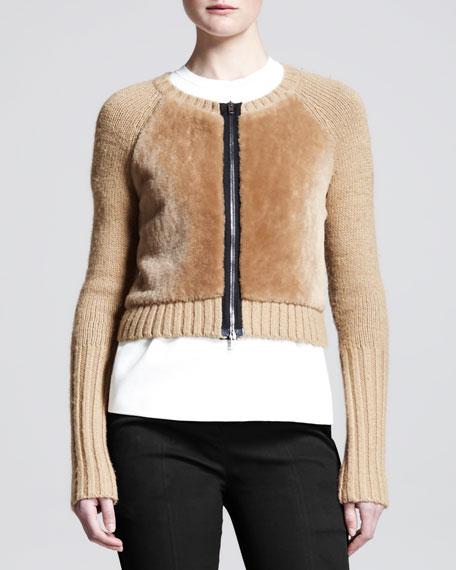 Shrunken Zip Shearling and Alpaca Fur Cardigan