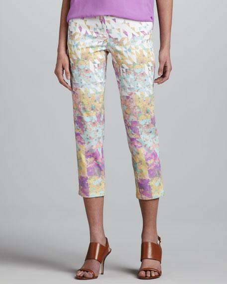 Floral-Print Jeans