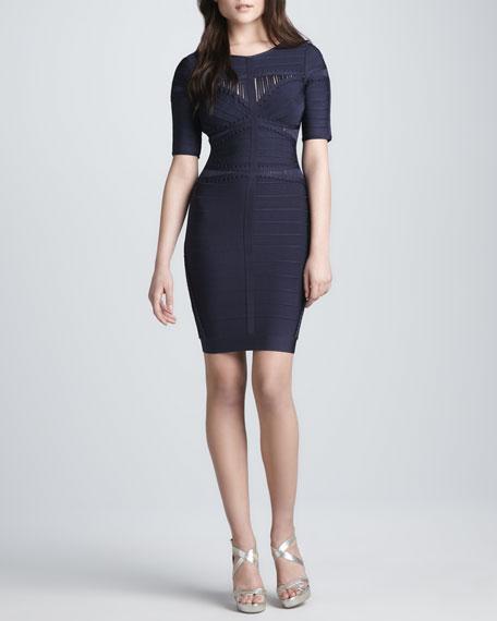 Half-Sleeve Dress with Cutouts