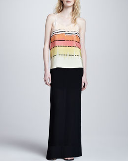 Tibi Long Jersey Illusion Skirt