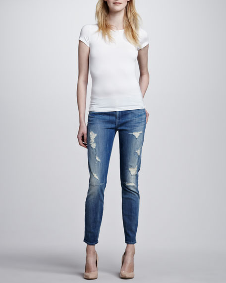 Cropped Skinny Jeans, Destroyed Bright Indigo