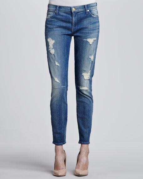 Cropped Skinny Jeans, Destroyed Bright Indigo