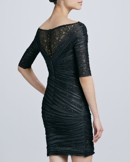 Half-Sleeve Lace & Tulle Cocktail Dress