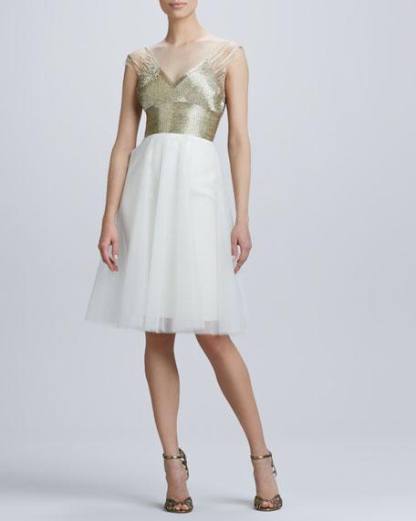 Beaded V Neck Cocktail Dress with Tulle Skirt