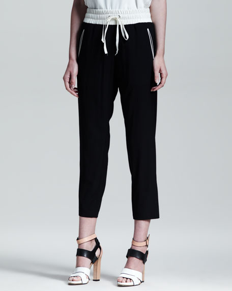 Contrast Waistband Easy Pants
