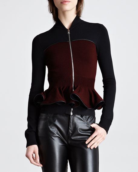 Zip-Front Knit Peplum Jacket, Black/Oxblood
