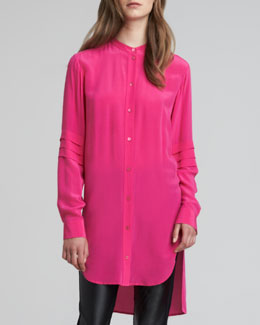 McQ Alexander McQueen High-Low Crepe de Chine Tunic, Pink